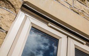 white frame casement windows