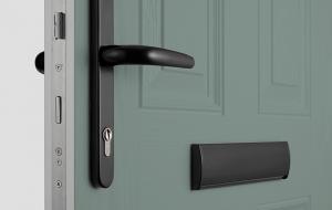 green composite doors black chrome accessories