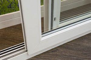 white frame patio door