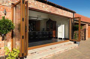 brown woodgrain bi-fold doors